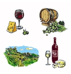 Wine Vineyard Icon Set vector image