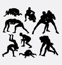Wrestling sport silhouettes vector