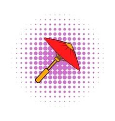 Asian red parasol or umbrella icon comics style vector image
