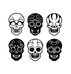 black mexican skull icons vector image