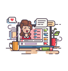 blogger girl writes articles and videos vector image