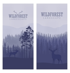 Vertical abstract banners of wild deer in forest vector image vector image