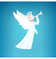 White Christmas Angel on a Blue Background vector image vector image