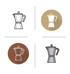 Classic coffee maker flat design linear and color vector image