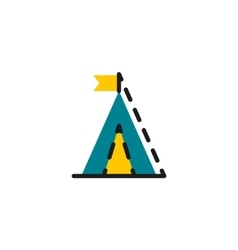 Color line icon for flat design Camping vector image