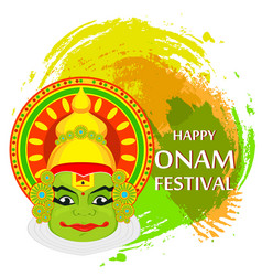 kathakali face with heavy crown for festival of vector image