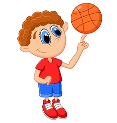 Little kid play basket ball vector image vector image