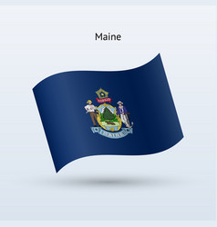 state of maine flag waving form vector image