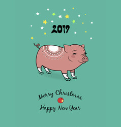 2019 year of the pig figure skates vector image