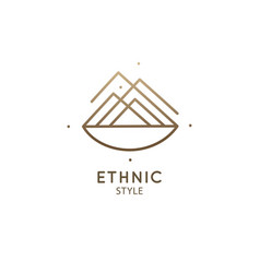 Abstract logo mountain in linear style vector