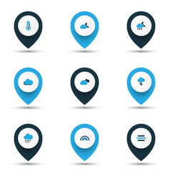 air icons colored set with wind temperature vector image