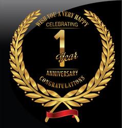 anniversary golden laurel wreath 1 year vector image