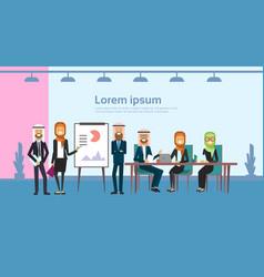 arab business people group presentation flip chart vector image