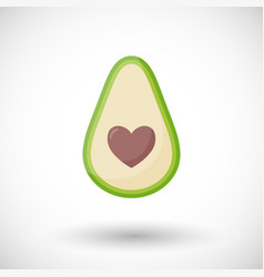Avocado love flat icon vector