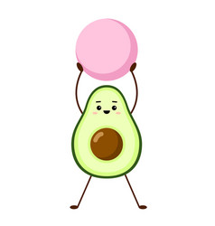 avocado yoga with pink fitball vector image
