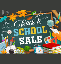 Back to school education season supplies sale vector