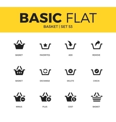 Basic set of Basket icons vector image