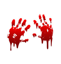 Bloody hand print 3d set isolated white background vector