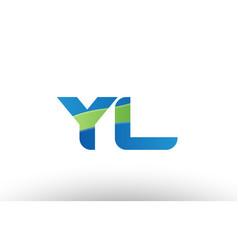 blue green yl y l alphabet letter logo vector image
