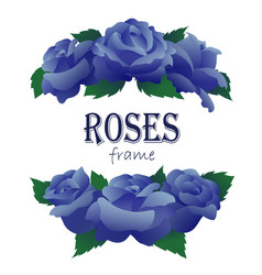 branches of blue roses in half round shape vector image