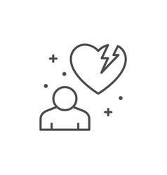 broken heart line outline icon vector image