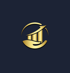 business chart progress safe gold logo vector image