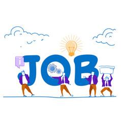 businessmen hard working process job lettering vector image