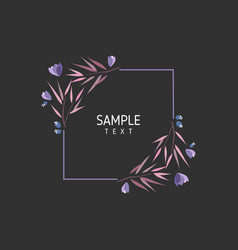 card with flowers and leaves wedding ornament vector image