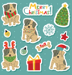 christmas cute white dogs with brown spots vector image
