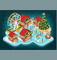 christmas fair with buildings and ferris vector image