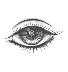 clock face inside human eye hand drawn vector image