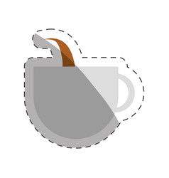 Coffee cup cappuccino beverage cut line vector
