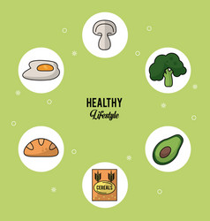 Colorful background of healthy lifestyle with set vector