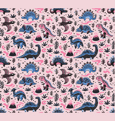 Cute cartoon dinosaurs seamless pattern in blue vector