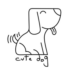 Cute dog smile doodle vector