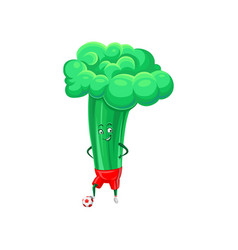 cute funny broccoli playing soccer vegetable vector image