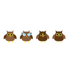 cute owl set line big eyes sunglasses cute vector image