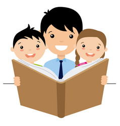 Dad reading a story to her children vector