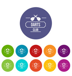 darts icons set color vector image