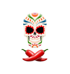 Decorated sugar skull and crossed chili peppers vector