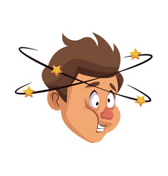 dizziness young man with stars spinning around his vector image