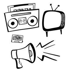 doodles for entertainment items vector image