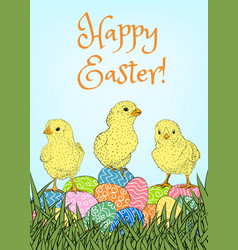 easter eggs and chickens vector image