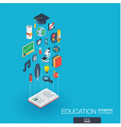Education integrated 3d web icons growth and vector