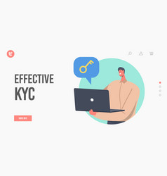 Effective kyc know your customer landing page vector