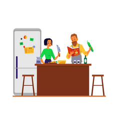 Family couple cooking food in home kitchen flat vector
