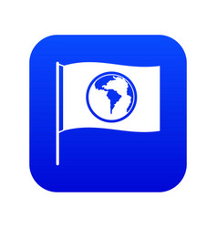 flag with world planet icon digital blue vector image