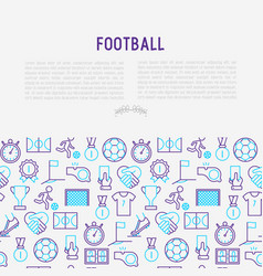 Football concept with thin line icons vector
