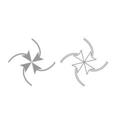 Four arrows in loop in center icon grey set vector