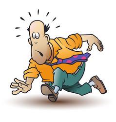 funny little men running man in tie vector image